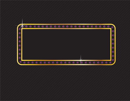 Elegant deco style frame with rounded corners, made from glowing amethyst gems set in a two-layer gold channel setting, isolated on black background. Illustration