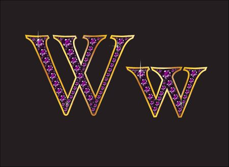 channel: Ww in stunning amethyst precious round jewels set into a 2-level gold gradient channel setting, isolated on black.