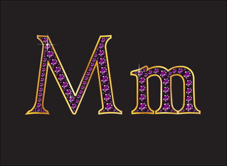 gold letters: Mm in stunning amethyst precious round jewels set into a 2-level gold gradient channel setting, isolated on black.