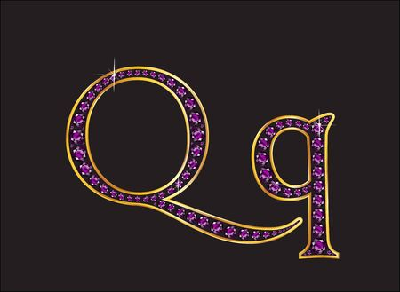 Qq in stunning amethyst precious round jewels set into a 2-level gold gradient channel setting, isolated on black. Illustration