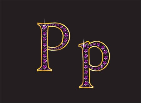 Pp in stunning amethyst precious round jewels set into a 2-level gold gradient channel setting, isolated on black.