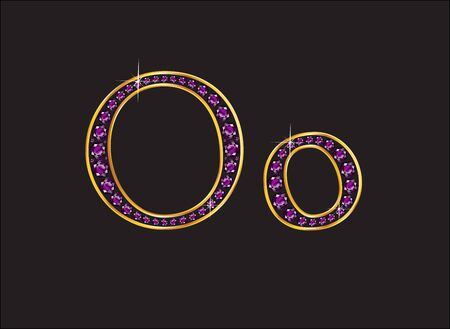 Oo in stunning amethyst precious round jewels set into a 2-level gold gradient channel setting, isolated on black.