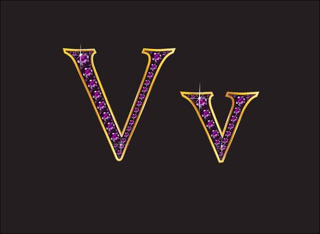 Vv in stunning amethyst precious round jewels set into a 2-level gold gradient channel setting, isolated on black.