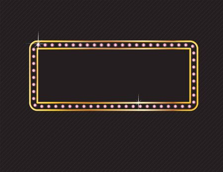 Elegant deco style frame with rounded corners, made from glowing rose quartz jewels set in a two-layer gold channel setting, isolated on black background. Illustration