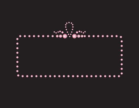 Elegant deco style frame with rounded corners, made from rose quartz jewels, isolated on black background. Illustration