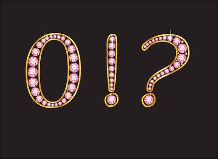 Zero, Exclamation Point and Question Mark in stunning rose quartz semi-precious round jewels set into a 2-level gold gradient channel setting, isolated on black. Illustration