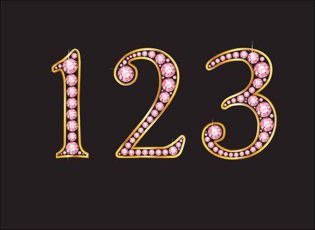 numero uno: 1, 2 y 3 en impresionante rosa rosa cuarzo joyas semipreciosas redondos conjunto en un ajuste del canal de la pendiente del oro de 2 niveles, aislado en negro.