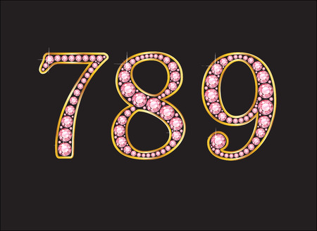 7 8: 7, 8 and 9 in stunning pink rose quartz semi-precious round jewels set into a 2-level gold gradient channel setting, isolated on black. Illustration