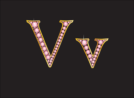 Vv in stunning rose quartz semi-precious round jewels set into a 2-level gold gradient channel setting, isolated on black.