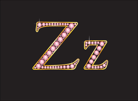 Zz in stunning rose quartz semi-precious round jewels set into a 2-level gold gradient channel setting, isolated on black. Illustration