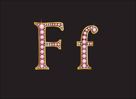 Ff in stunning rose quartz semi-precious round jewels set into a 2-level gold gradient channel setting, isolated on black.