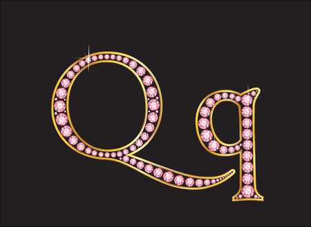 Qq in stunning rose quartz semi-precious round jewels set into a 2-level gold gradient channel setting, isolated on black. Illustration