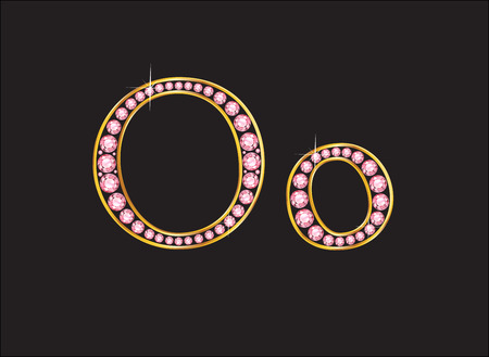 birthstone: Oo in stunning rose quartz semi-precious round jewels set into a 2-level gold gradient channel setting, isolated on black.