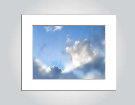 An illustration of sun rays peeking out from a cloud formation, constructed with gradient mesh, no transparency.