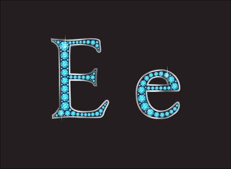 ee: Ee in stunning Aquamarine precious round jewels set into a 2-level gold gradient channel setting, isolated on black. Illustration