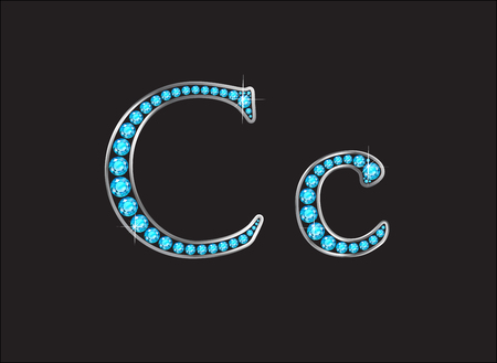 Cc in stunning Aquamarine precious round jewels set into a 2-level gold gradient channel setting, isolated on black.