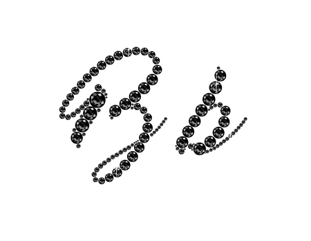 Bb in stunning Onyx Script precious round jewels, isolated on black.