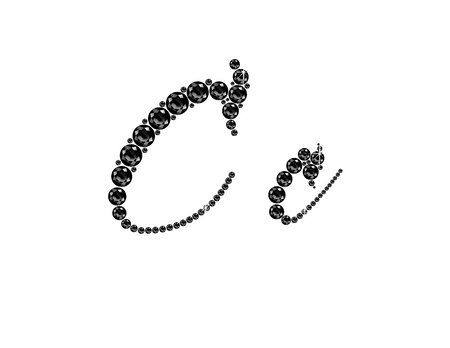 Cc in stunning Onyx Script precious round jewels, isolated on black.