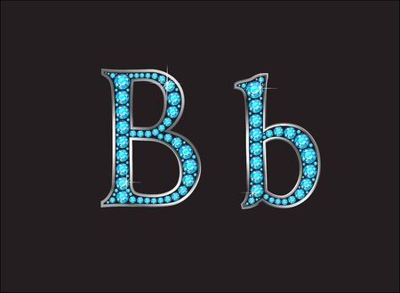 channel: Bb in stunning Aquamarine precious round jewels set into a 2-level gold gradient channel setting, isolated on black.