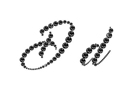 onyx: Dd in stunning Onyx Script precious round jewels, isolated on black. Illustration