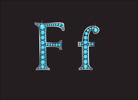 channel: Ff in stunning Aquamarine precious round jewels set into a 2-level gold gradient channel setting, isolated on black. Illustration