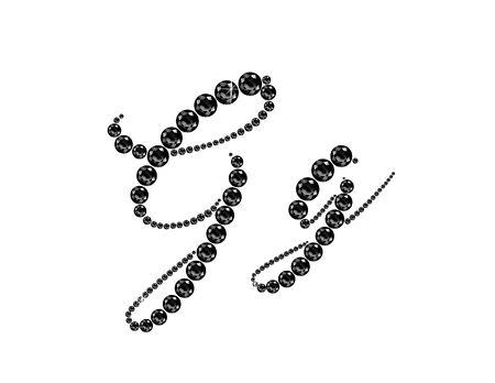 Gg in stunning Onyx Script precious round jewels, isolated on black. Illustration