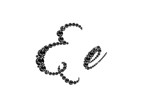 Ee in stunning Onyx Script precious round jewels, isolated on black. Illustration