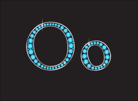 costly: Oo in stunning Aquamarine precious round jewels set into a 2-level gold gradient channel setting, isolated on black. Illustration