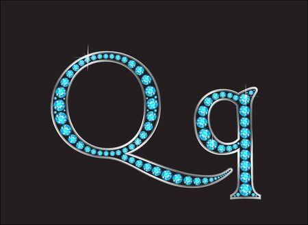 Qq in stunning Aquamarine precious round jewels set into a 2-level gold gradient channel setting, isolated on black.
