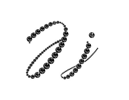 Jj in stunning Onyx Script precious round jewels, isolated on black.