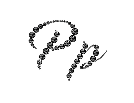 pp: Pp in stunning Onyx Script precious round jewels, isolated on black. Illustration