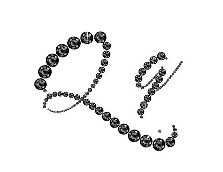onyx: Qq in stunning Onyx Script precious round jewels, isolated on black.