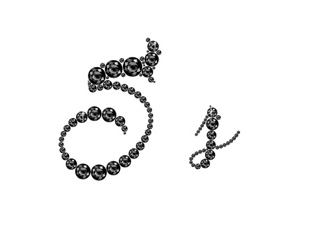 Ss in stunning Onyx Script precious round jewels, isolated on black.