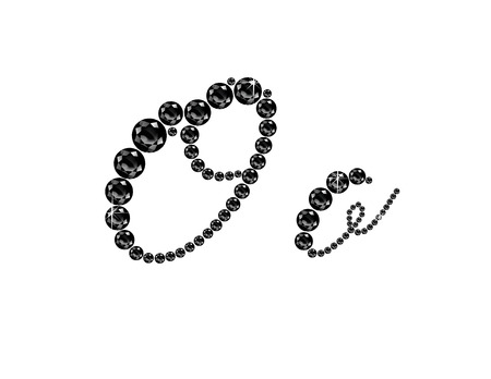 black onyx: Oo in stunning Onyx Script precious round jewels, isolated on black.
