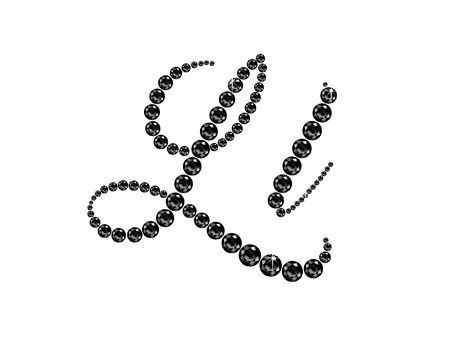 Ll in stunning Onyx Script precious round jewels, isolated on black.