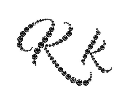 onyx: Kk in stunning Onyx Script precious round jewels, isolated on black.
