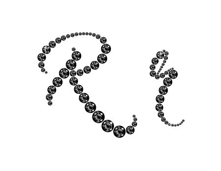 jewels: Rr in stunning Onyx Script precious round jewels, isolated on black. Illustration