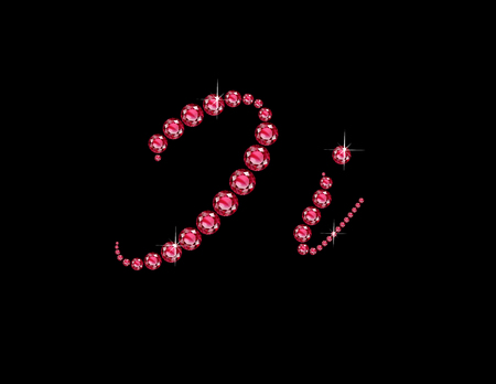 costly: Ii in stunning Ruby Script precious round jewels, isolated on black.
