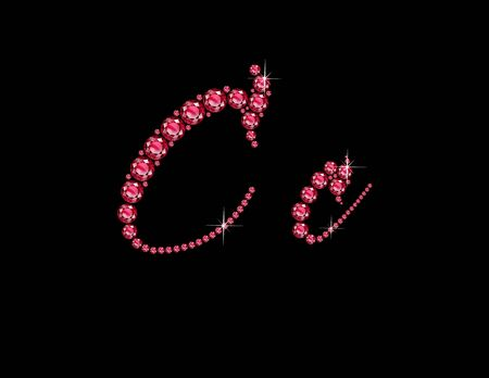 cc: Cc in stunning Ruby Script precious round jewels, isolated on black.