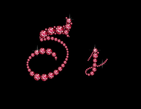 Ss in stunning Ruby Script precious round jewels, isolated on black.