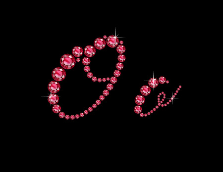 Oo in stunning Ruby Script precious round jewels, isolated on black. Illustration