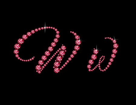 Ww in stunning Ruby Script precious round jewels, isolated on black. Illustration