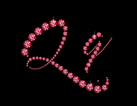 costly: Qq in stunning Ruby Script precious round jewels, isolated on black. Illustration