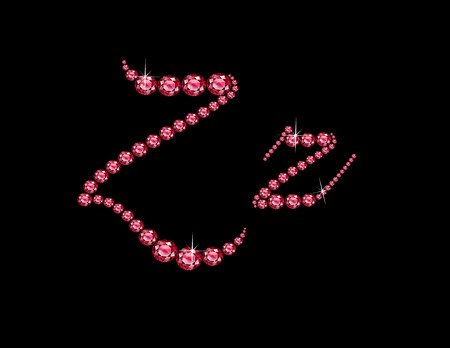 Zz in stunning Ruby Script precious round jewels, isolated on black.