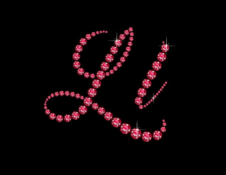 Ll in stunning Ruby Script precious round jewels, isolated on black.