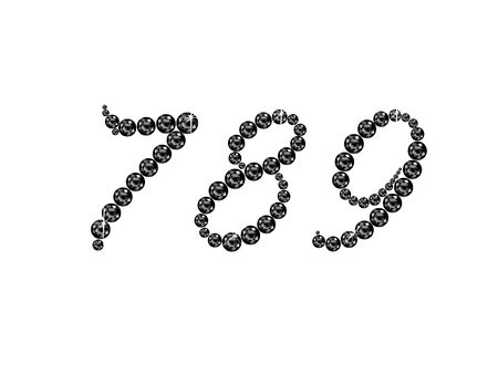 7 8: Numbers 7, 8 and 9 in stunning Onyx Script precious round jewels, isolated on white.