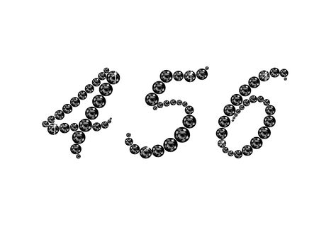 4 5: Numbers 4, 5 and 6 in stunning Onyx Script precious round jewels, isolated on white.