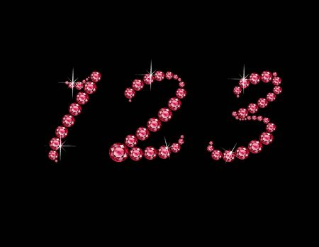 Numbers 1, 2 and 3 in stunning Ruby Script precious round jewels, isolated on black.