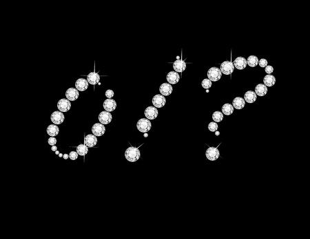 point exclamation: Zero, Point d'exclamation et d'interrogation dans de superbes diamants Script bijoux ronds précieux, isolé sur noir. Illustration