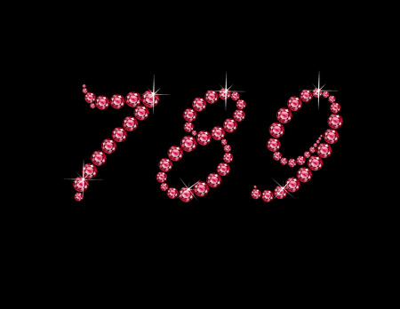7 8: Numerals 7, 8 and 9 in stunning Ruby Script precious round jewels, isolated on black. Illustration